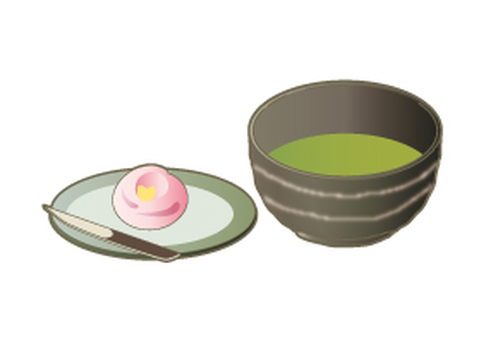 Matcha and Japanese confectionery set _ dough