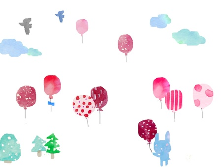 Pink balloons and rabbits