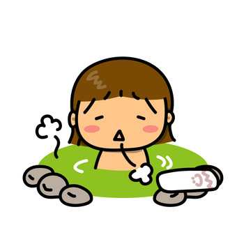 Illustration of a girl stuck on an outdoor bath