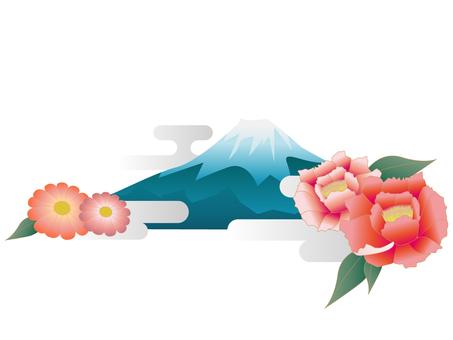 후지산과 꽃
