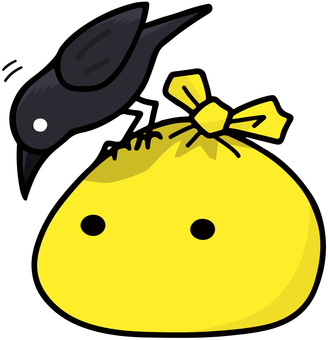Yellow garbage bag and crow