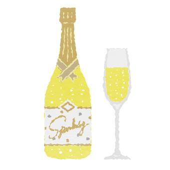 水彩風・シャンパンとシャンパングラス