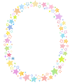 Water color star circle frame 5