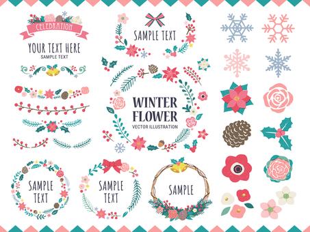 Winter floral frame and decoration set