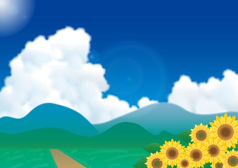 뭉게 구름과 산과 해바라기 풍경