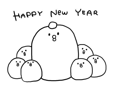 【Rooster Year】 New Year card template 【Black and white】