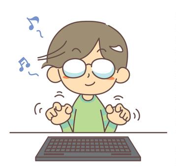 Men typing typing keyboard