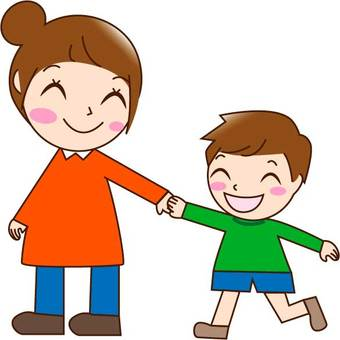Parent and child (mother, son), smile