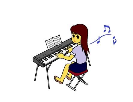 전자 피아노를 치는 여자