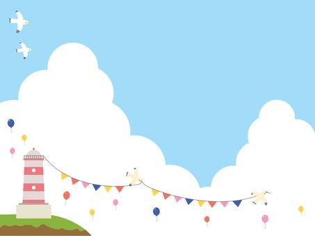 Lighthouse and blue sky illustration
