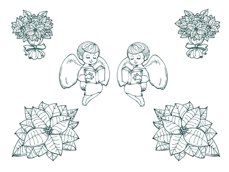 Christmas poinsettia and angel