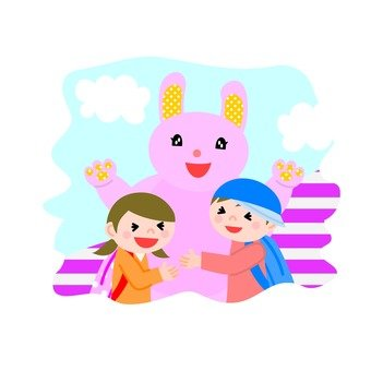 Rabbit costume and children 3