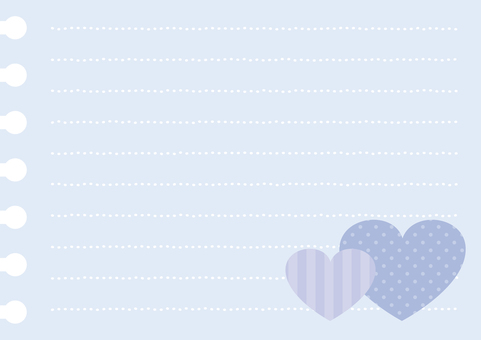 Blue heart note paper