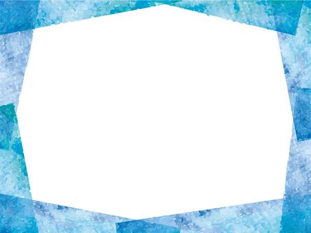 フレーム飾り枠水彩背景手描き春夏青装飾紙