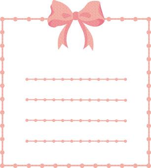 ピンク色リボンフレームりぼん便箋メモ帳丸
