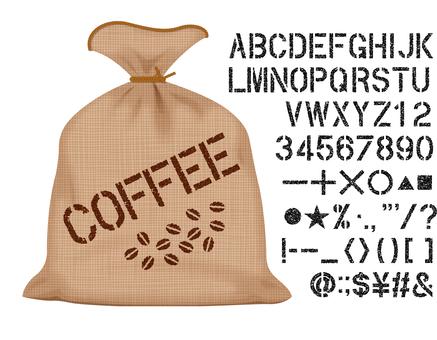 Hemp bag and stencil letters set