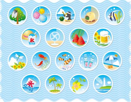 Summer scenes Various circular shapes