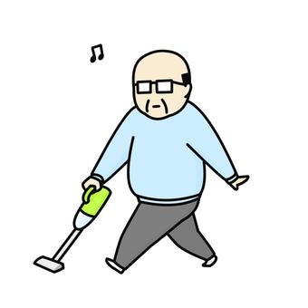 진공 청소기 중년 남성 여유