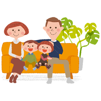 A family relaxing on the sofa