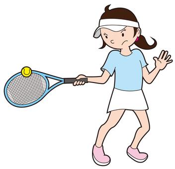 Tennis girls hitting the ball