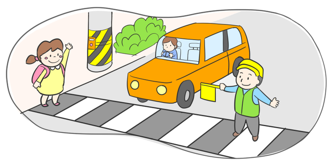 Children crossing the pedestrian crossing