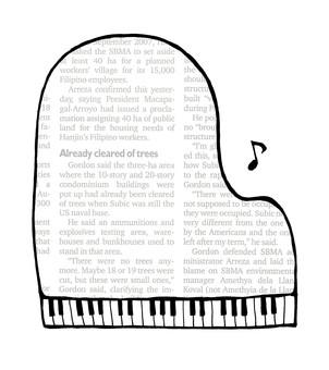 Piano frame _ No line _ English newspaper