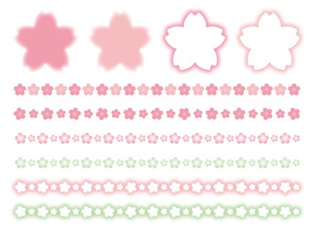 Pastel color cherry frame line set