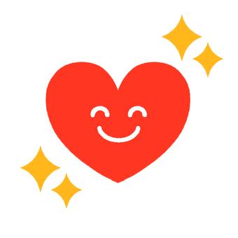 Smiling glitter heart icon