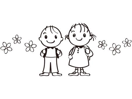 어린이 초등학생 가방 벚꽃 흑백 선화