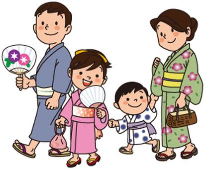 Family of yukata appearance, 4 people