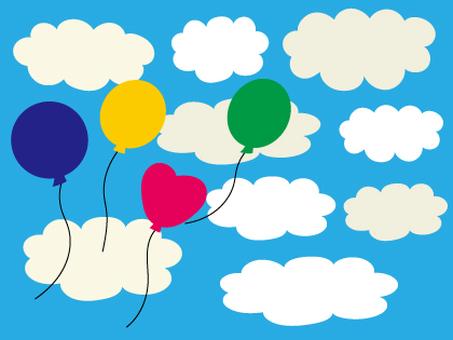 天空和雲彩和氣球