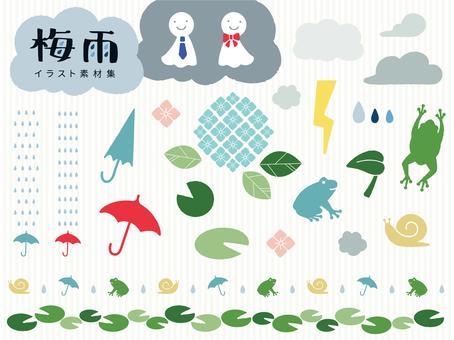 Material set of rainy season motif