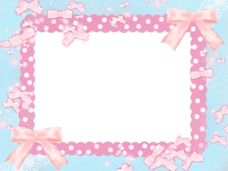 리본 카드 하늘색 핑크