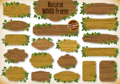 Country style wood grain frame with leaves