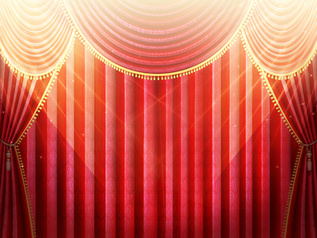 Stage with light red curtain wallpaper frame 2