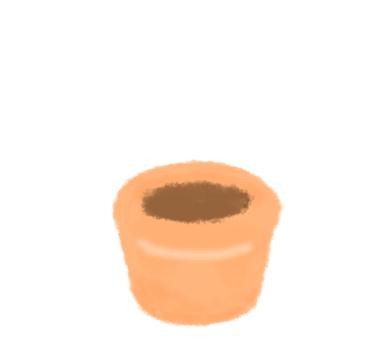 A flowerpot containing soil