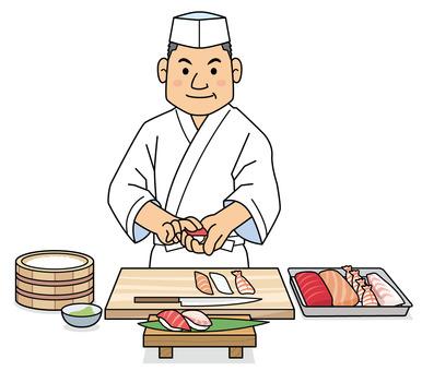 Sushi chef Japanese cuisine illustration
