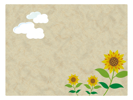 Sunflowers and clouds on Japanese paper
