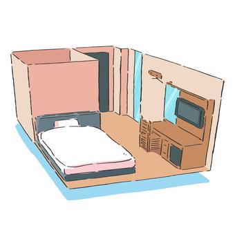 空飛ぶホテルの部屋のイラスト