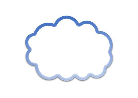 雲型의 말풍선 (파랑, 윤곽선)