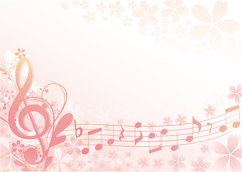Cherry-blossom music frame Horizontal type