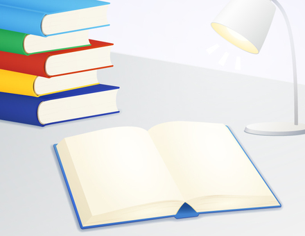 本を開いて電気をつけて勉強