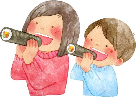 A mother and a boy who eats Erikaki