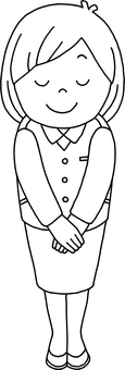 Line drawing Female office worker who bows