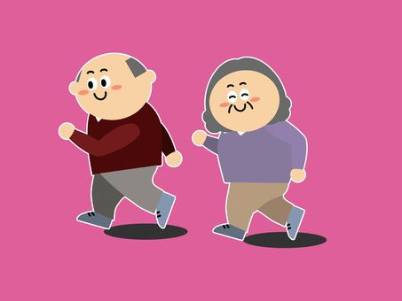 Cheerful old couple