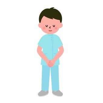 Medical - Male nurse bowing (whole body)
