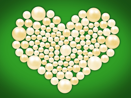 Pearl and heart background in green background