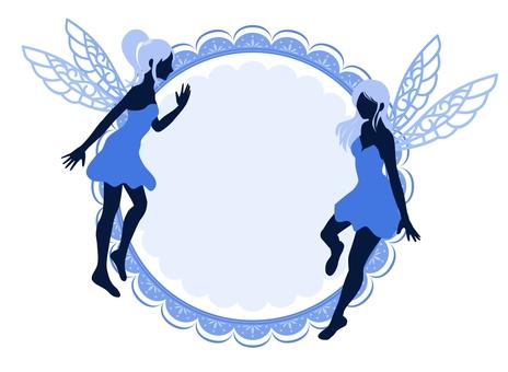 Fairy silhouette frame blue