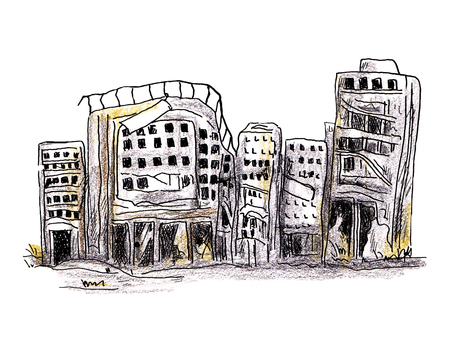 Devastated building 02 (colored pencil painting)