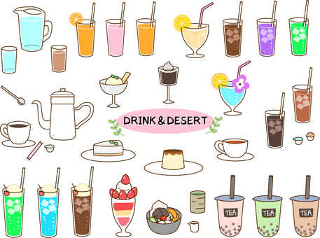 Drink dessert menu material set